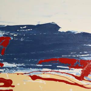 paintacial movement, series l, no.2 (tan, white, and blue) by Paige Zirkler