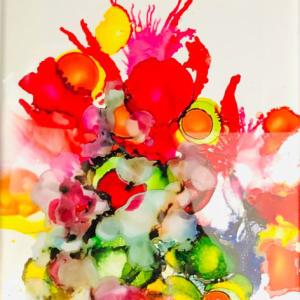 Triptych: Blooming Characters, Peek Season, Poppy Pop by Susan Soffer Cohn
