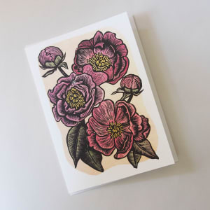 Greeting Card: Peonies by Carolyn Howse