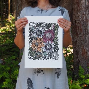 Floribunda Linocut by Carolyn Howse