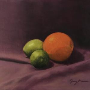 Citrus on purple   8 x 10 original oil sherry mason gv2yiq