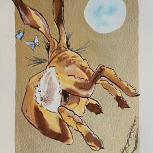Running hare chasing butterlies playing gold leaf liz shewan artist 2017 b8n2ho