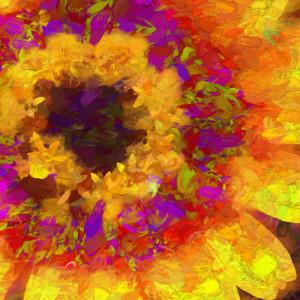 Red and Yellow Impasto Daisy