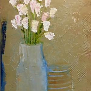 White tulips in glass jug 24x36 f7lrpq