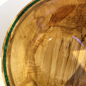 Spalted Birch Blessing Vessel with Malachite and copper