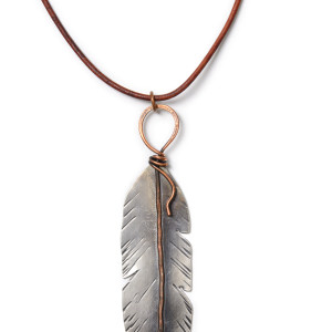 Moss agate silver feather