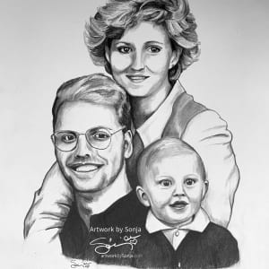 Family Portrait pencil Drawing by Sonja Petersen