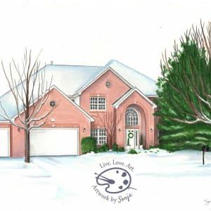 Winter 4 Seasons House Drawing by Sonja Petersen