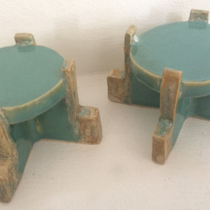Square spiral candle stands, in sky blue and funkified gold. by Nell Eakin