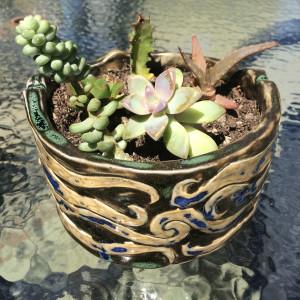 Double Medusa yin yang succulent pot by Nell Eakin