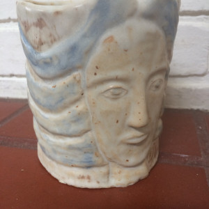 Gweniviere had blue hair cup and succulent pot by Nell Eakin
