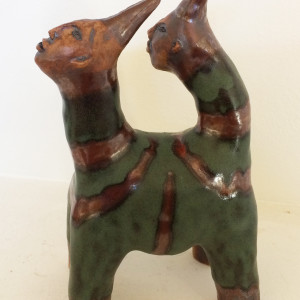 Remus the green striped 2 headed unicorn by Nell Eakin