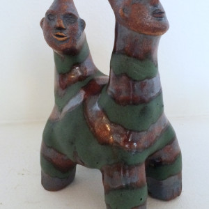 Artimore and Artemus, the green stripped 2 headed unicorn twins by Nell Eakin
