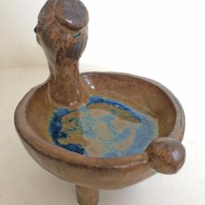 Blue Lake Flower Dish by Nell Eakin