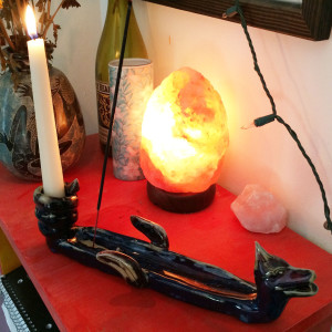 Gawain the candle holding dragon incense holder by Nell Eakin