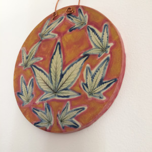 Hawaiian Sunset hanging leaf impressions  by Nell Eakin