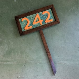Custom Home Address Plate, with wood frame and stand by Nell Eakin