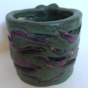 Eclectic lady land pots for electric columnar candles by Nell Eakin