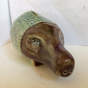 Warner the textured piggy bank by Nell Eakin
