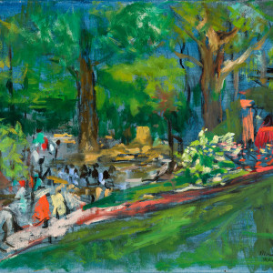 Children Walking in the Botanical Gardens by Miriam McClung