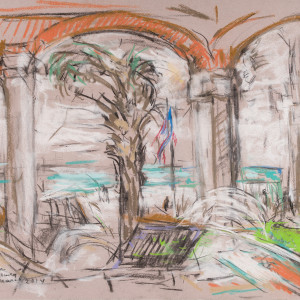 Beach Scene with Columns on Porch by Miriam McClung