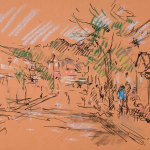 Street Scene in Crestline, Alabama by Miriam McClung