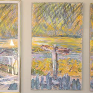 The Crucifixion (Left Panel) by Miriam McClung