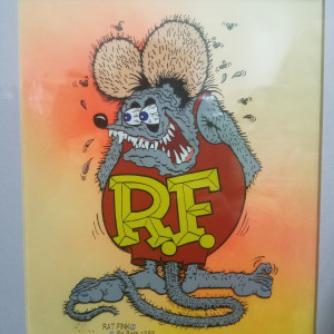 """Rat Fink - hand painted, signed cel by Ed """"Big Daddy"""" Roth"""