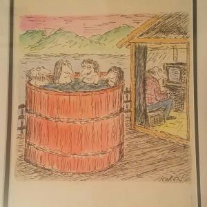 """Hot Tub vs Television"" - TV Guide illustration by Ed Koren"