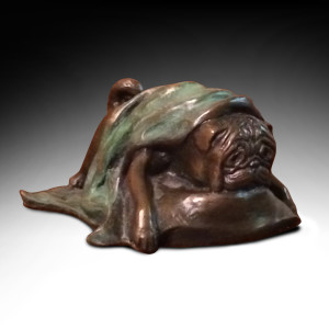 Pug in a Blanket by Phyllis Mantik deQuevedo